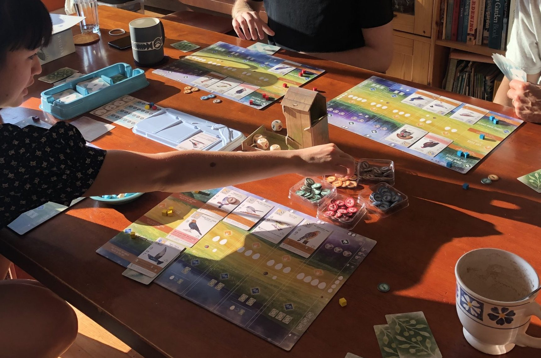 A game of Wingspan with four players